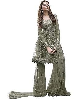 c5a47c10ee Delisa New Indian/Pakistani Ethnic wear Net & Georgette Plaazo/Sharara  Salwar Kameez Women