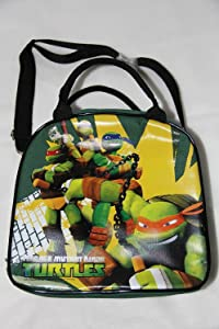 TMNT Ninja Turtles Lunch Box Carry Bag with Shoulder Strap and Water Bottle (GREEN)