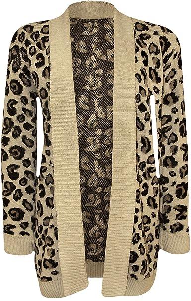 WearAll - Mujeres Hecho Punto Leopardo Animales Print Pattern Abierto Cardigan Top - Piedra - 40-42: Amazon.es: Ropa y accesorios