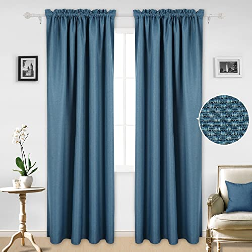 Deconovo Home Decorations Faux Linen Rod Pocket Light Blocking Thermal Insulated Window Curtain Panel for Bedroom, 42W x 95L Inch, Adriatic Blue