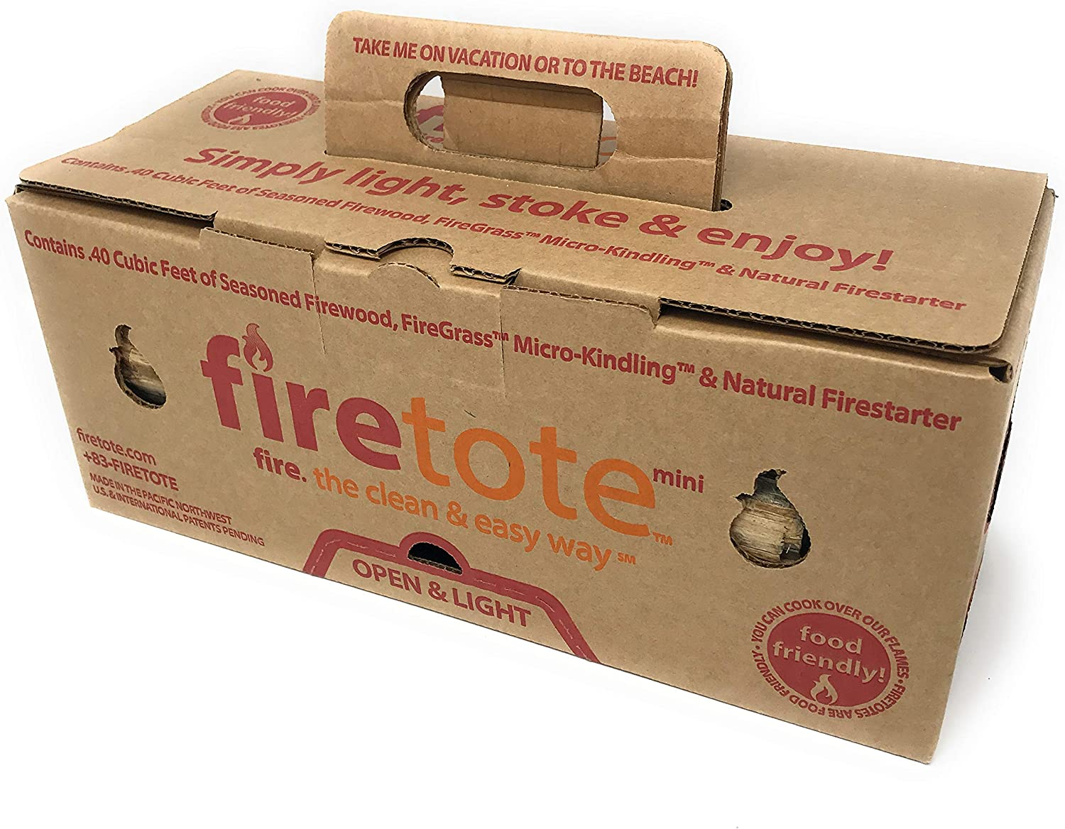 Firetote Box Kiln Dried Wood Logs Firewood /& Kindling Safe /& Natural Fire Starter for Open Fire BBQ or Campfire Logs