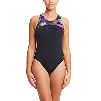 ba7aa5cfe7d Zoggs Women's Arrow Zippedback Swimsuit, Black/Multi-Coloured, ...