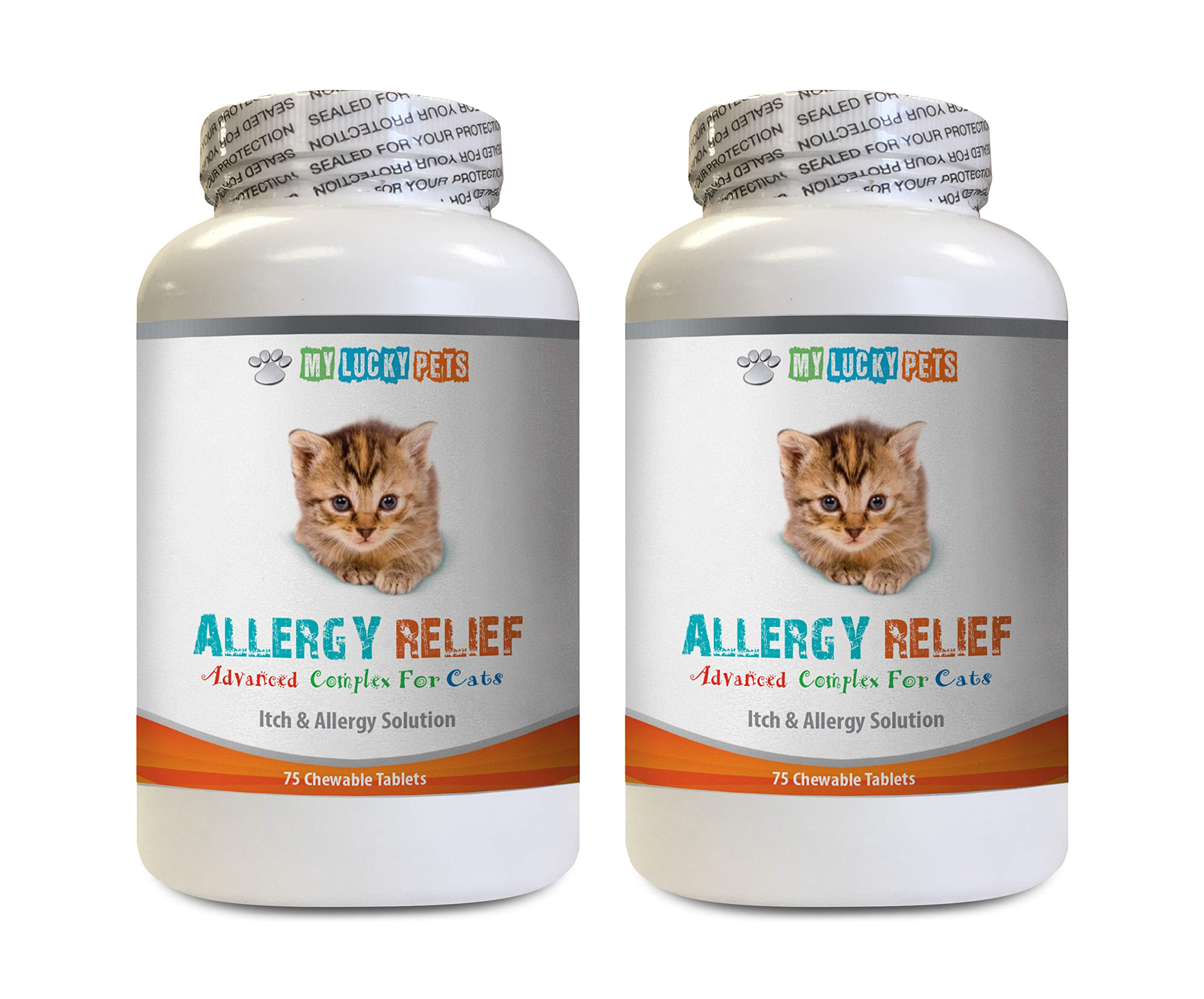 MY LUCKY PETS LLC cat Skin Conditioner - CAT Allergy Relief Complex - Premium Itch Solution - Immune Booster - cat Allergy Reducer - 2 Bottles (150 Chewable Tablets) by MY LUCKY PETS LLC