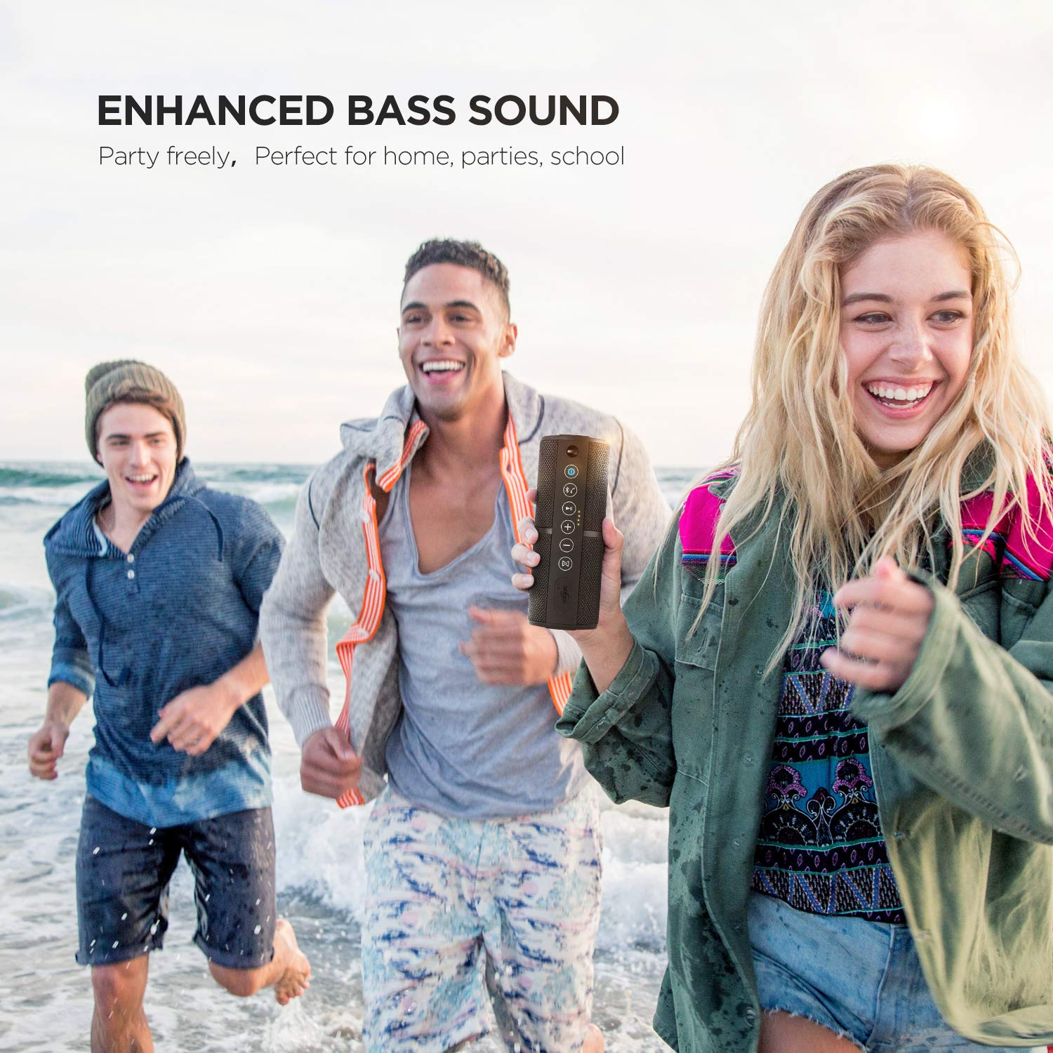 Sbode Bluetooth Speakers Portable Waterproof Outdoor Wireless Speaker Enhanced Bass FM Radio for Beach Shower /& Home Sync Together Auto Off Built in Mic TF Card