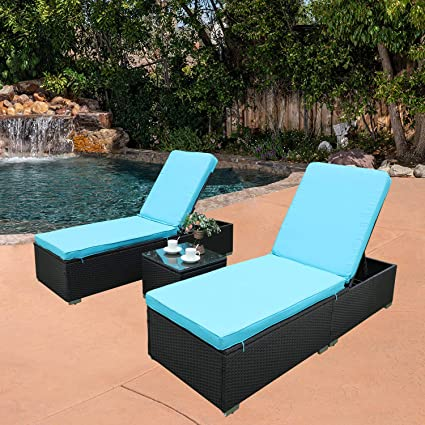 Stupendous Do4U 3 Pcs Outdoor Chaise Lounge Easy To Assemble Thick Comfy Cushion Wicker Lounge Chairs Include 1 Table And 2 Chaise Lounge Exp Rattan With Interior Design Ideas Tzicisoteloinfo