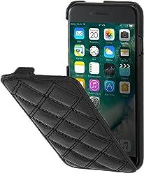"""StilGut UltraSlim Case, custodia verticale in pelle cover per iPhone 7 (4,7""""). Chiusura clip in alto Flip-Case in vera pelle, Nero Nappa - Carato"""