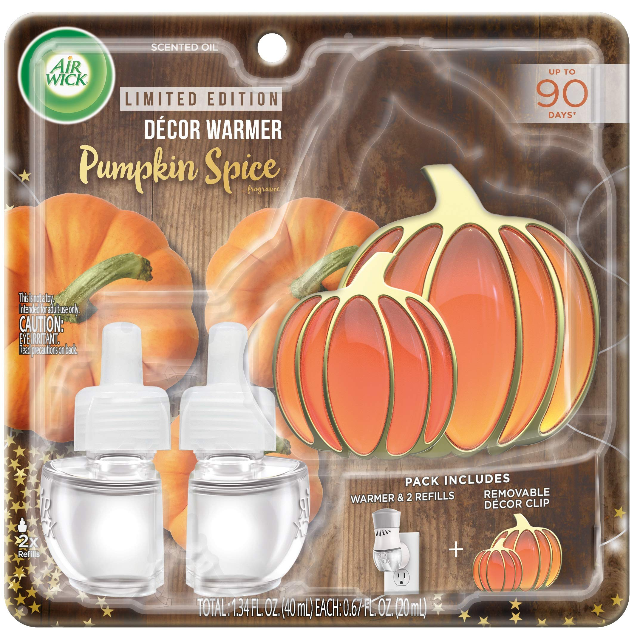 Air Wick Plug In Scented Oil Starter Kit With Pumpkin Decor Clip