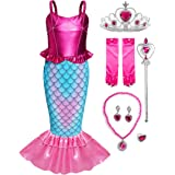 FUNNA Girls Mermaid Costume Princess Dress Up with Accessories
