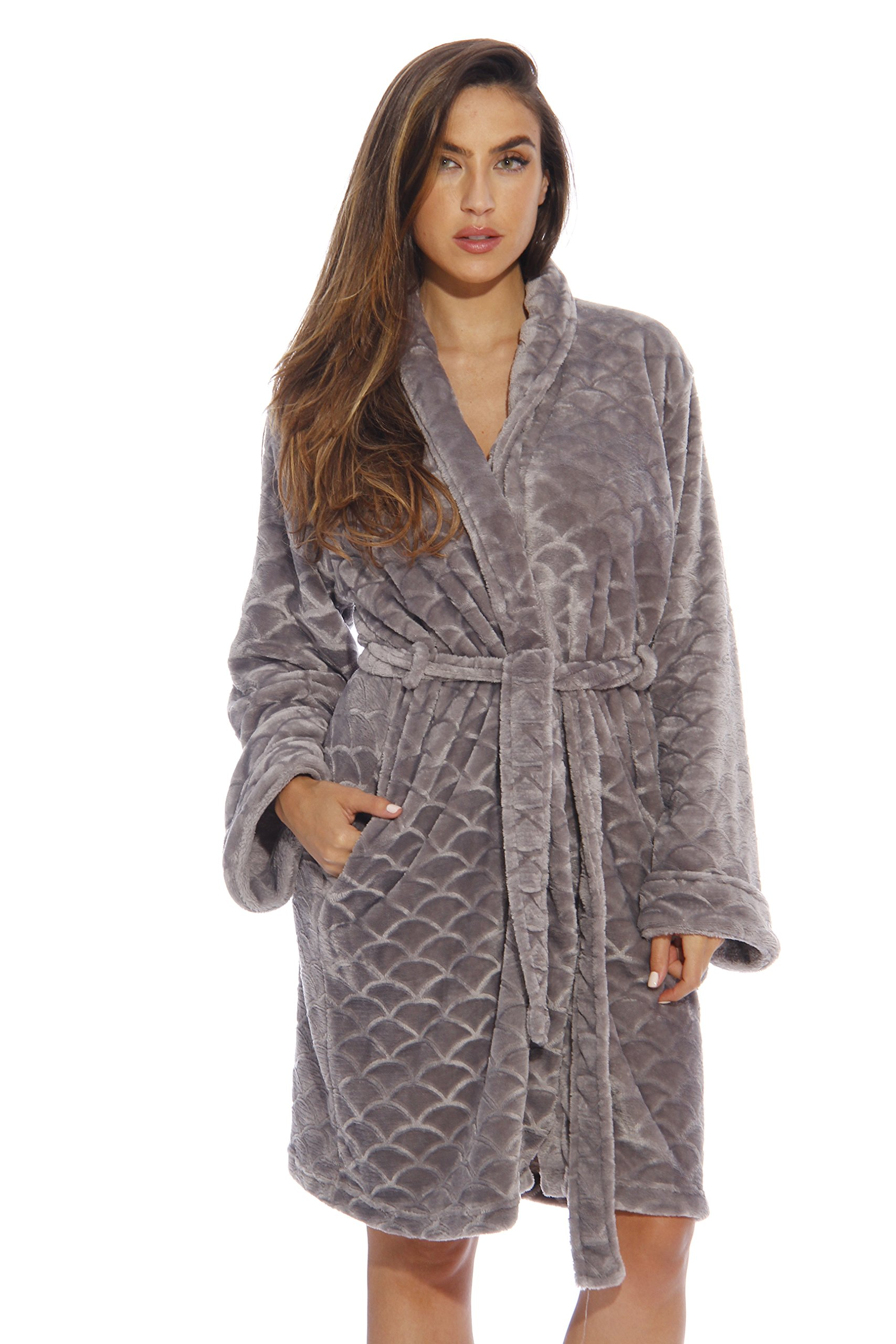 Just Love Kimono Robe / Bath Robes for Women, SizeSmall, Light Grey