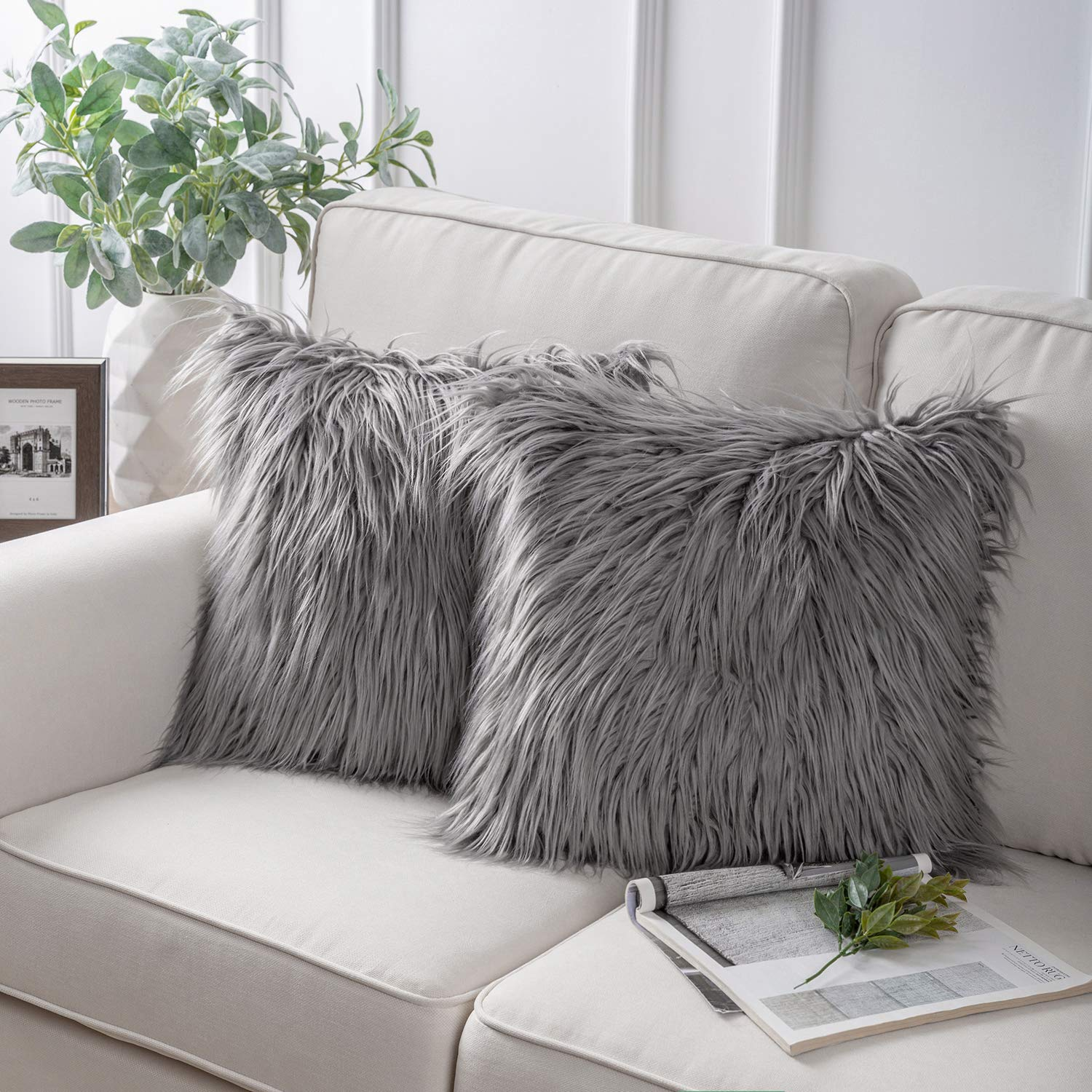 Phantoscope Pack of 2 Luxury Series Throw Pillow Covers Faux Fur Mongolian Style Plush Cushion Case for Couch Bed and Chair,Grey 18 x 18 inches 45 x 45 cm