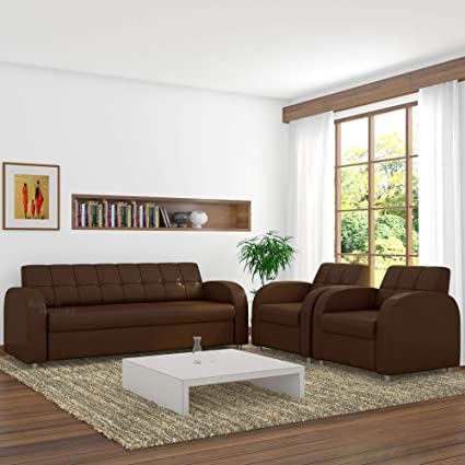 Spaces Therapy Atlanta Leatherette 5 Seater Sofa Set For Home 3 1 1 Brown For Hall Living Tv Guest Room Home Furniture Sofas Trending Shape With