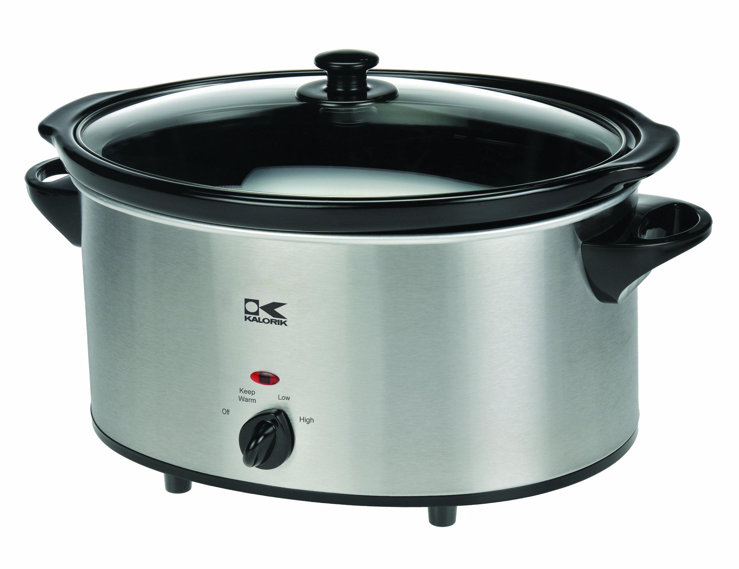 Kalorik Oval Slow Cooker, Stainless Steel, 6-Qt.