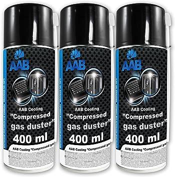 3 x AAB PC Spray Limpiador 400ml para Limpiar Teclados, Ordenadores, Copiadoras, Cámaras, Impresoras y Otros, Duster, Eliminación de Polvo, Aire ...