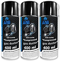 3 x AAB Compressed Gas Duster 400ml - Computer Duster Can for Cleaning Computer, Keyboard, and Other Office Equipment | Keyboard Cleaner | Air Blower | Keyboard Spray | Compressed Air Prime | PC