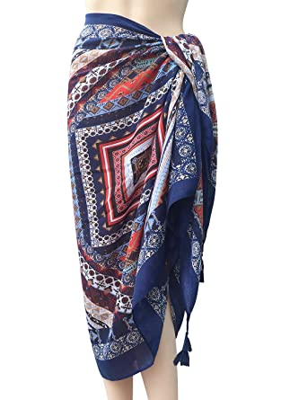 b91b271f68 Oryer Womens Sarong Wrap Beach Pareo Swimwear Sarongs Cover up Swimsuit Wrap  at Amazon Women's Clothing store: