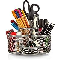 Schreibtisch Ordnungssystem drehbar in grau silber - hochwertiger und großer Stifteköcher aus Metall - edler Schreibtischorganizer, Stiftehalter, Büro Organizer in modernem Rund Design