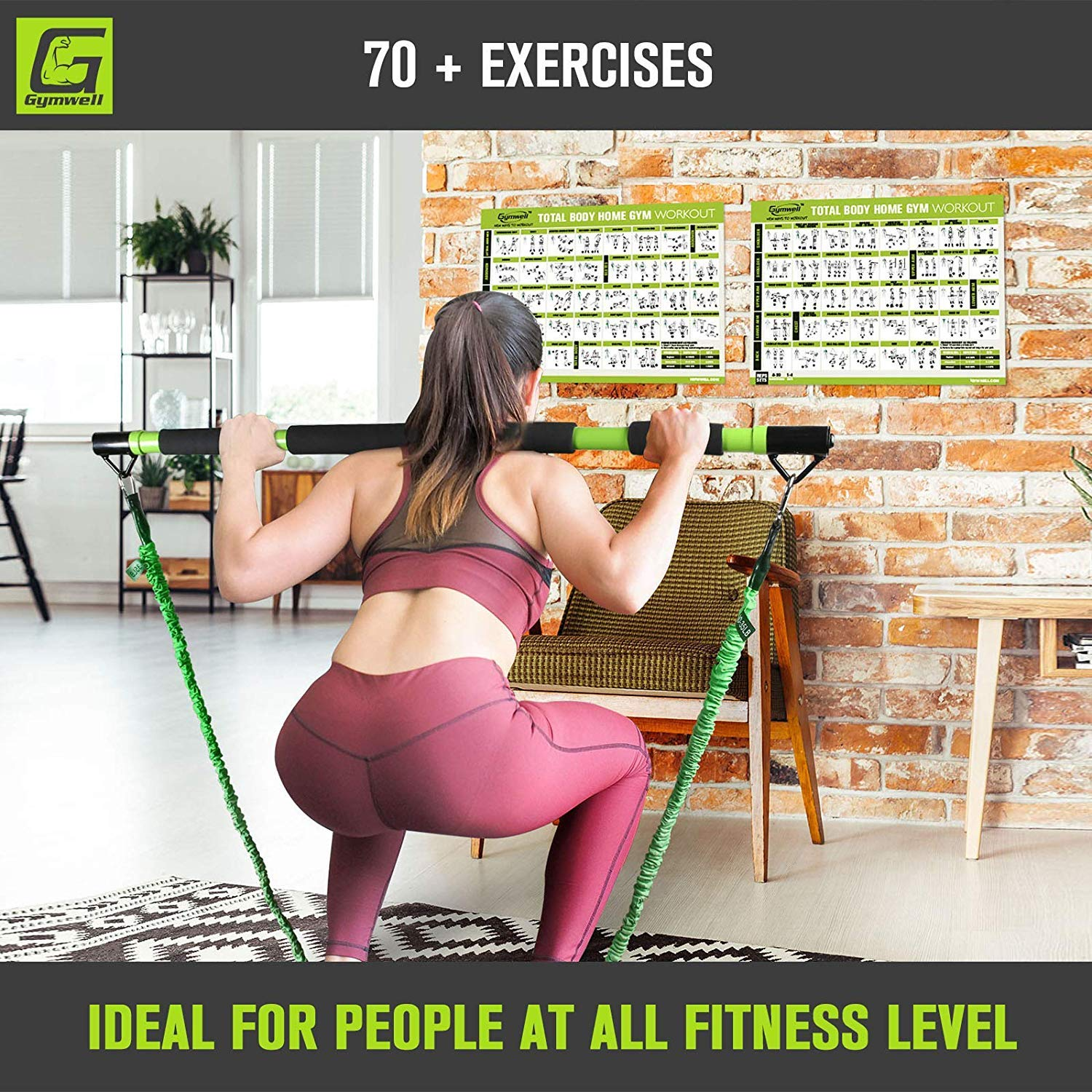Gymwell Portable Resistance Workout Set, Total Body Workout Equipment for Home, Office or Outdoor with 3 Sets of Resistance Bands (Green - Full Gym) by Gymwell (Image #6)