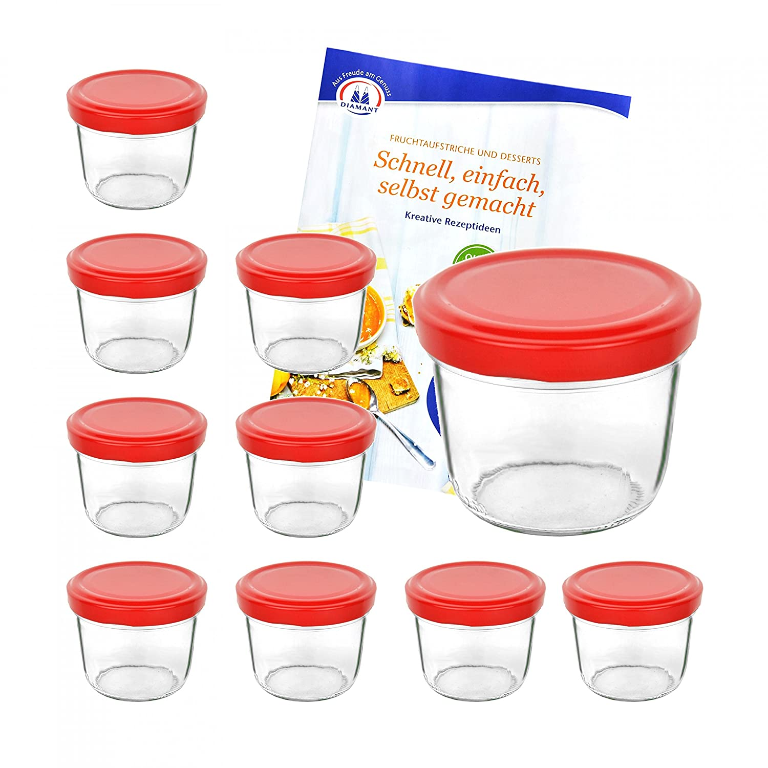 Set of 10 Glass Jars 230 ml Assorted Lid Colour red MamboCat