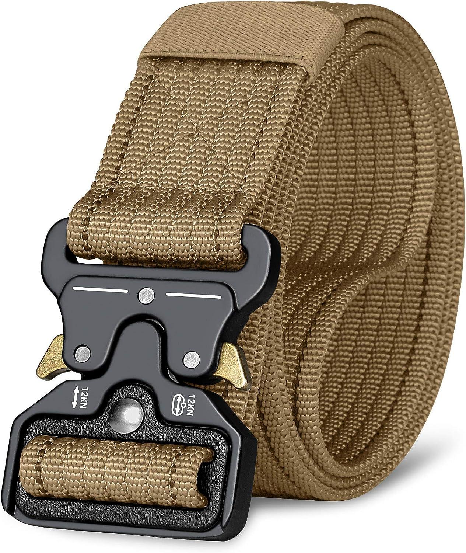 ITIEZY Tactical Military Belt Men Nylon Belt Metal Buckle Black Grey Army Green Outdoor Activity