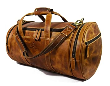 f11bf92817ac Image Unavailable. Image not available for. Color  Travel Duffel Overnight  Barrel Weekend Leather Bag ...