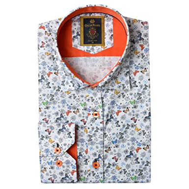 f5c52362936 Oscar Banks Butterfly Print Mens Shirt White 4XLarge  Amazon.co.uk  Clothing