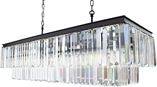 D Angelo 40 Inch Clear Glass Crystal Prism Chandelier