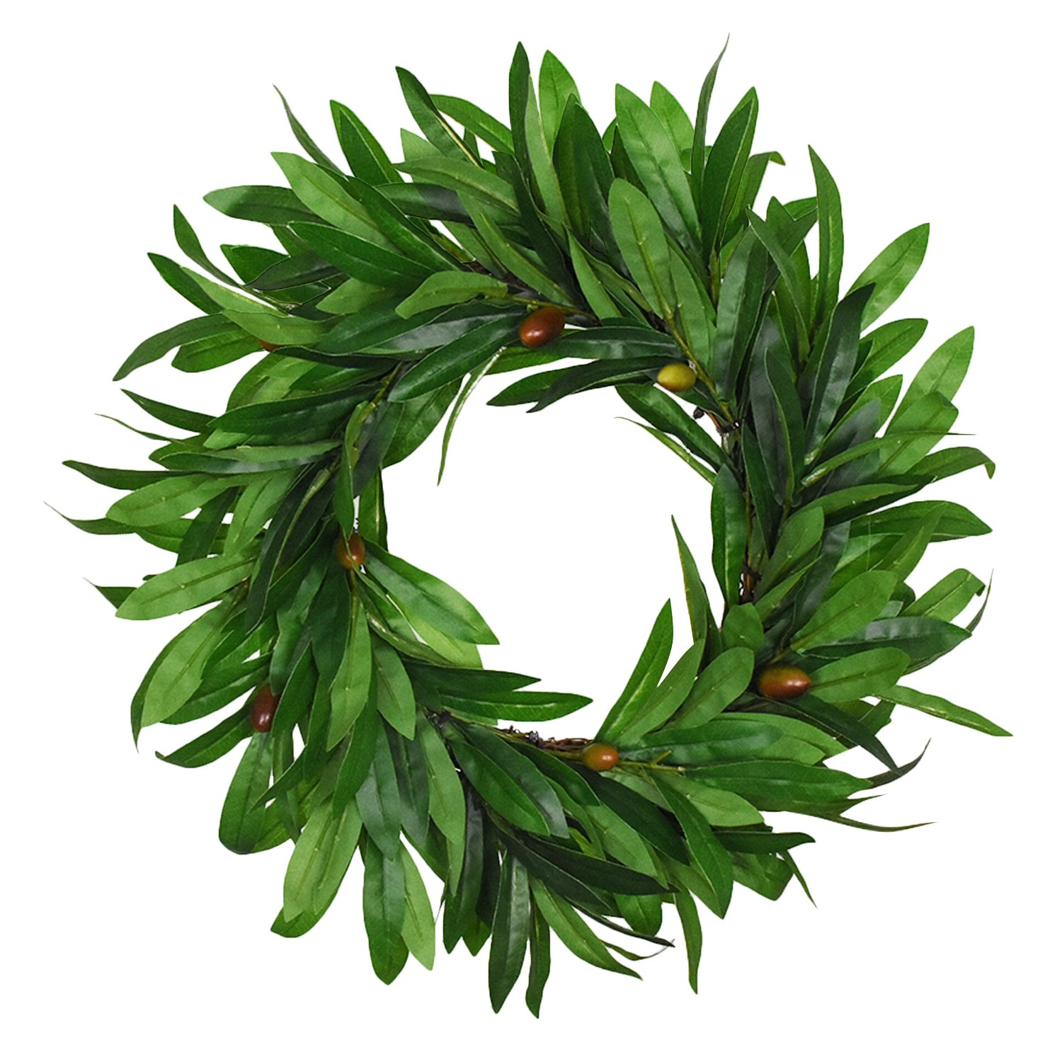 Sunm boutique Artificial Olive Wreath Natural Vines Green Leaves Front Door Indoor Outdoor Wall Wedding Home Decoration