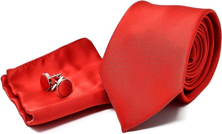 Corbata de hombre, Pañuelo de Bolsillo y Gemelos Rojo Satén - 100 ...