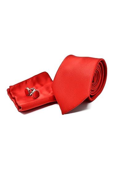 Corbata de hombre, Pañuelo de Bolsillo y Gemelos Rojo Satén ...