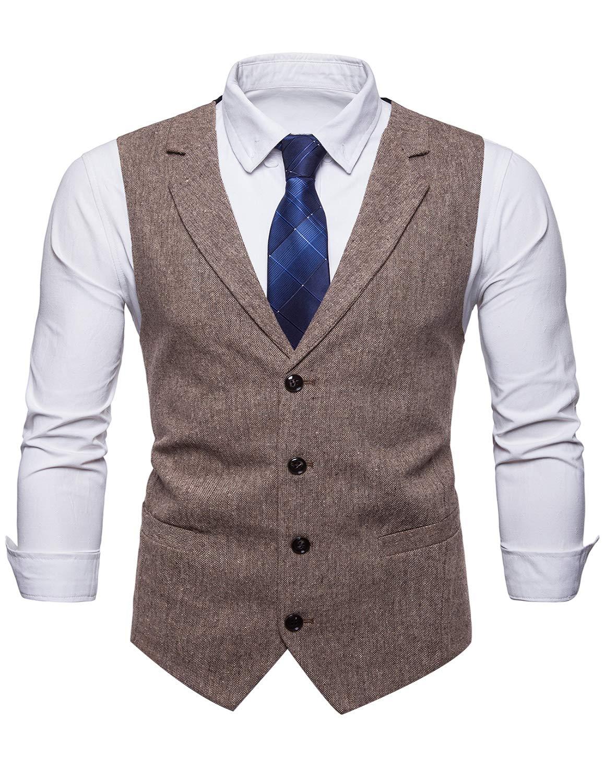 STTLZMC Mens Casual Dress Vests 4 Button Tailored Collar Tweed Suit Waistcoat,Khaki,X-Large