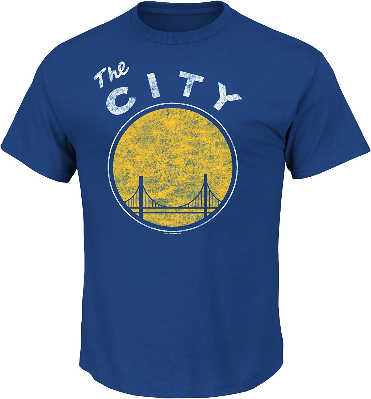 NBA Men's Majestic Weathered Post Up Short Sleeve Basic Crew Neck T-Shirt