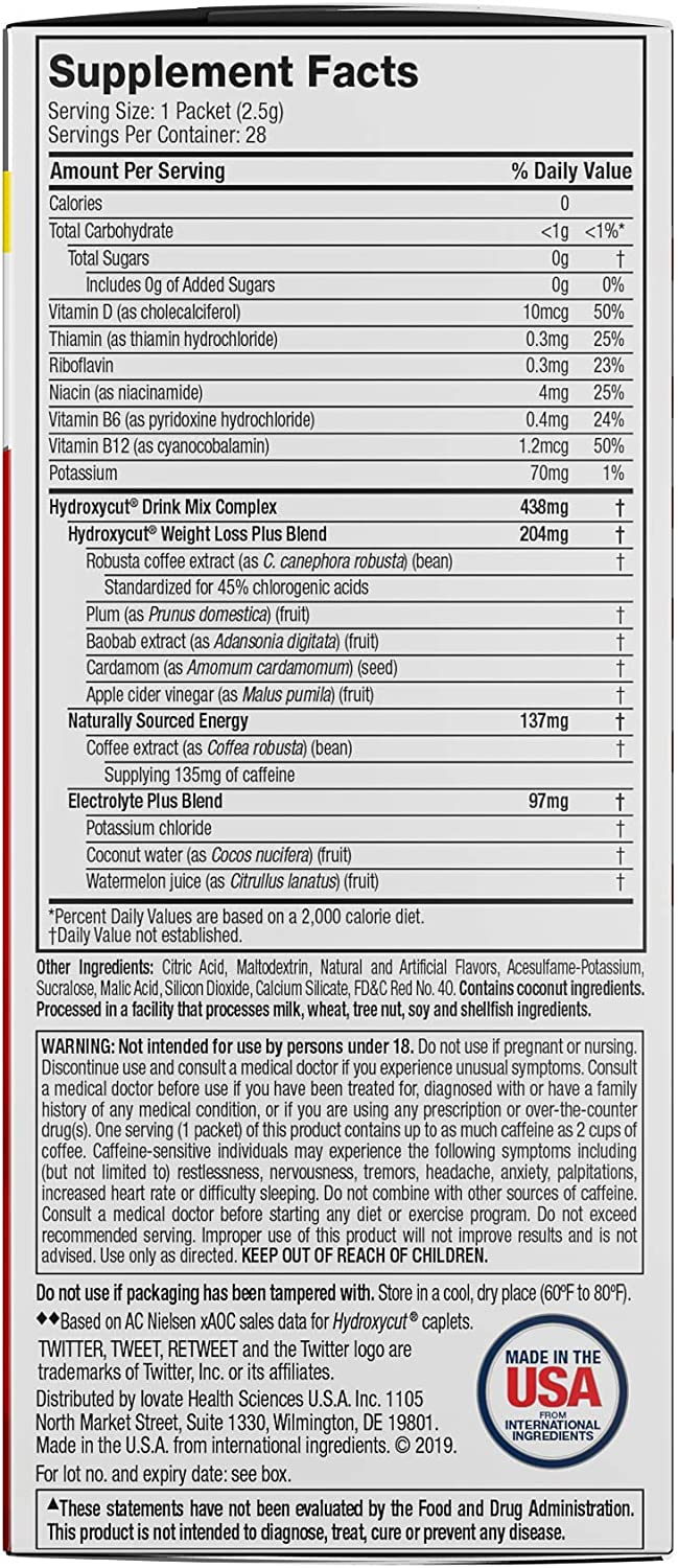 Hydroxycut Drink Mix Weight Loss Supplements, Wildberry Blast, 28 Count (Pack of 1)