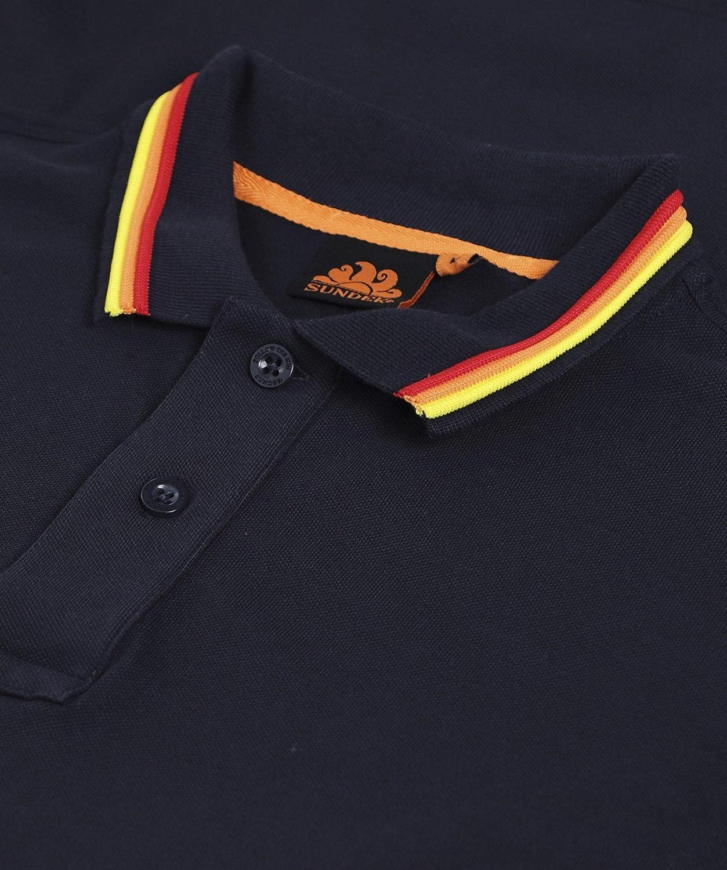 SUNDEK Men's Cotton Pique Tipped Brice Polo Shirt Navy Navy