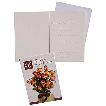 10 Cartes D Invitation Cartes Anniversaire 40 Ans Avec Interieur