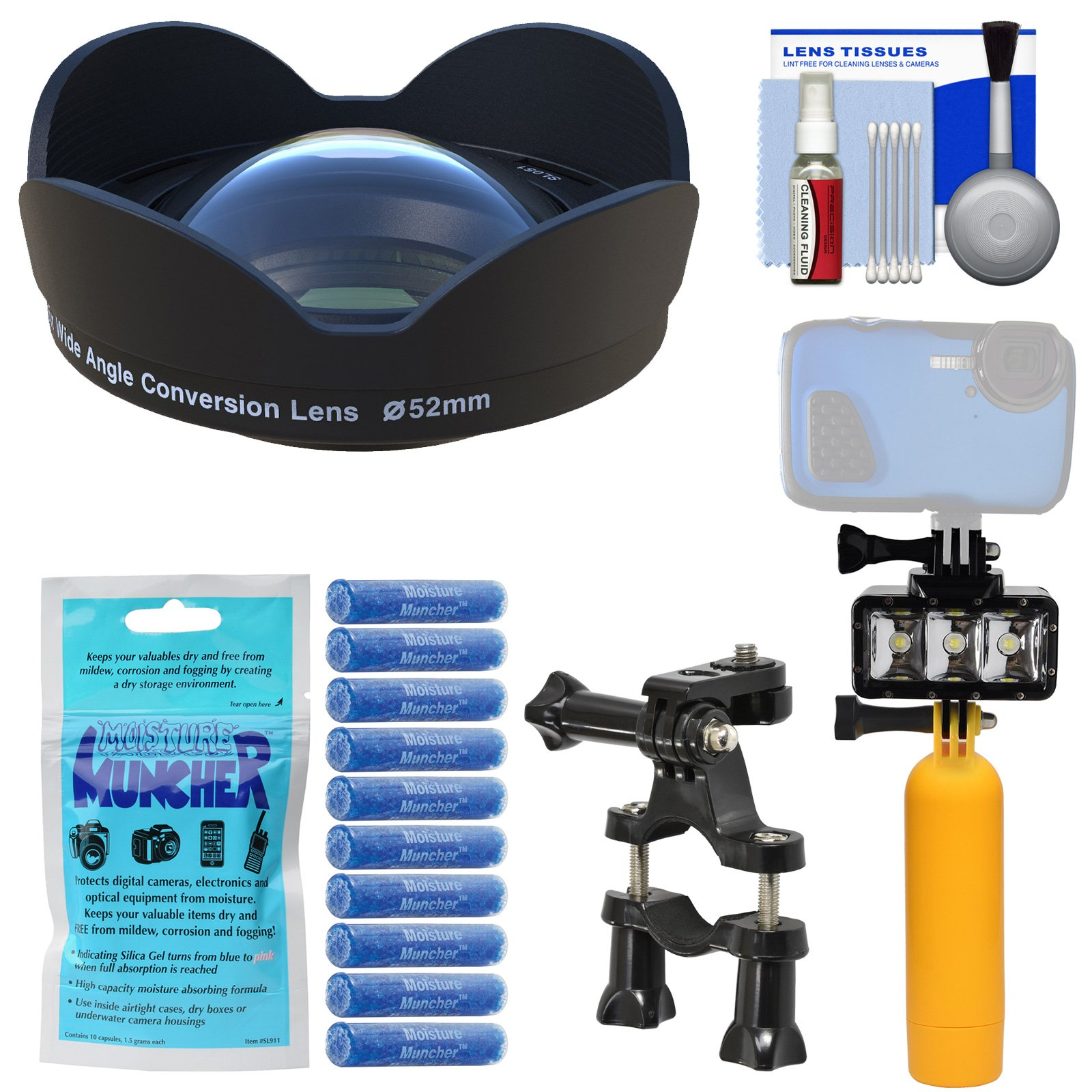 SeaLife SL051 0.75x Wide Angle Conversion Lens for DC2000 Camera & Adapter Ring + Silica Gel + Underwater Video Light + Buoy Handle + Bike Mount Kit by SeaLife
