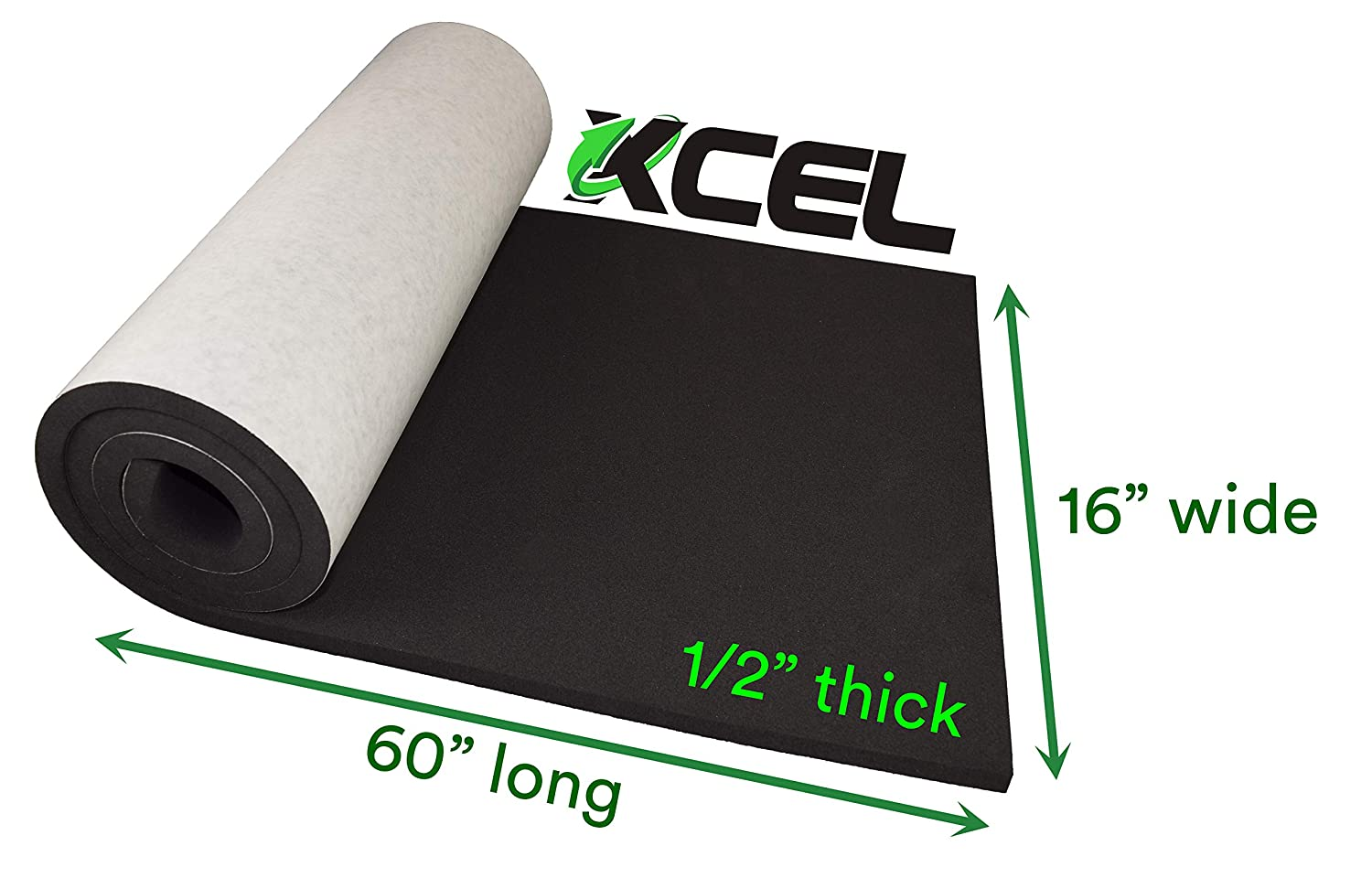 Water and Weather Resistant Size 60 X 16 X 1//2 XCEL Extra Large Marine Roll Closed Cell Neoprene Rubber with Adhesive Easy Cut Material Made in USA