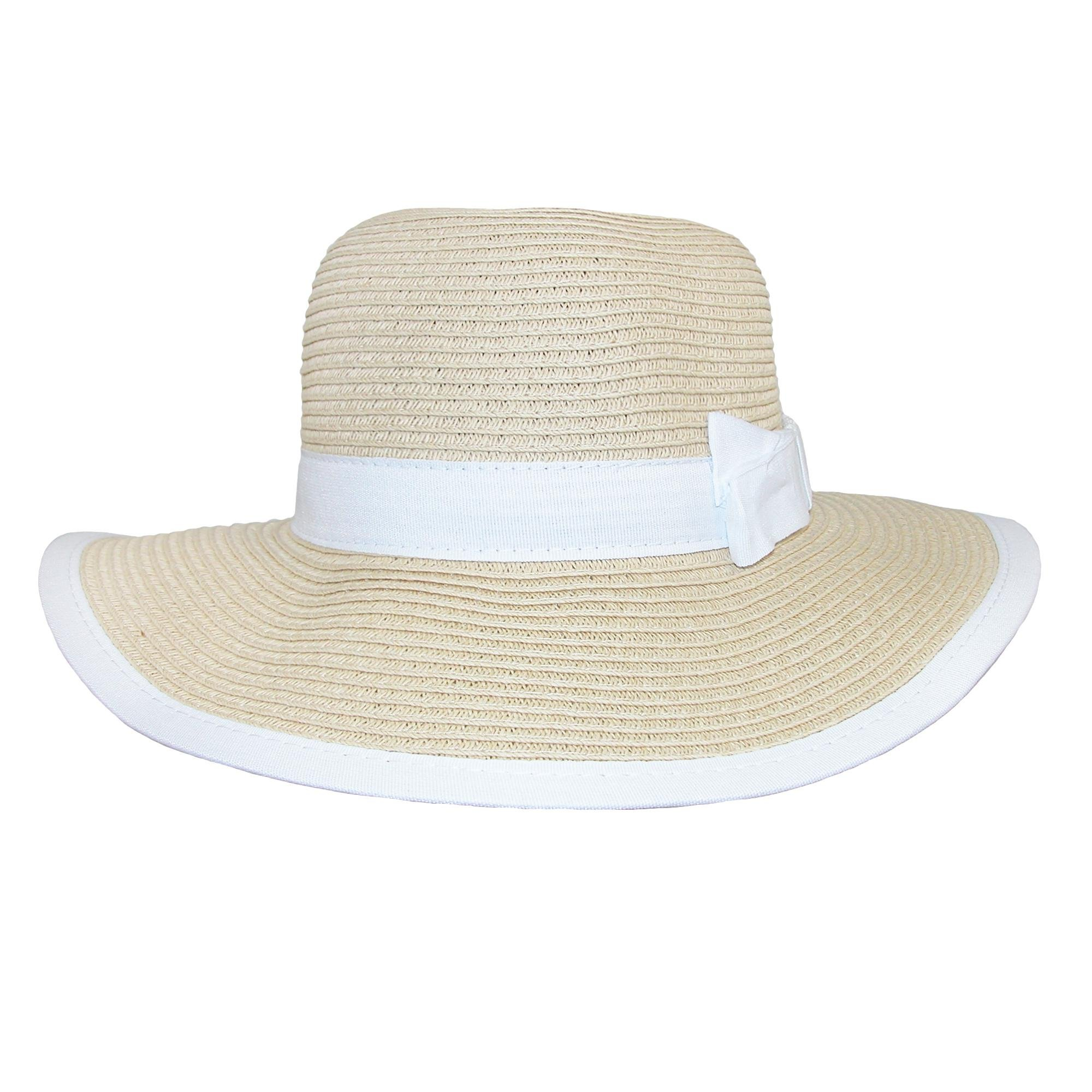 CTM Girls' Sun Hat with Bow and Edge Trim, Natural