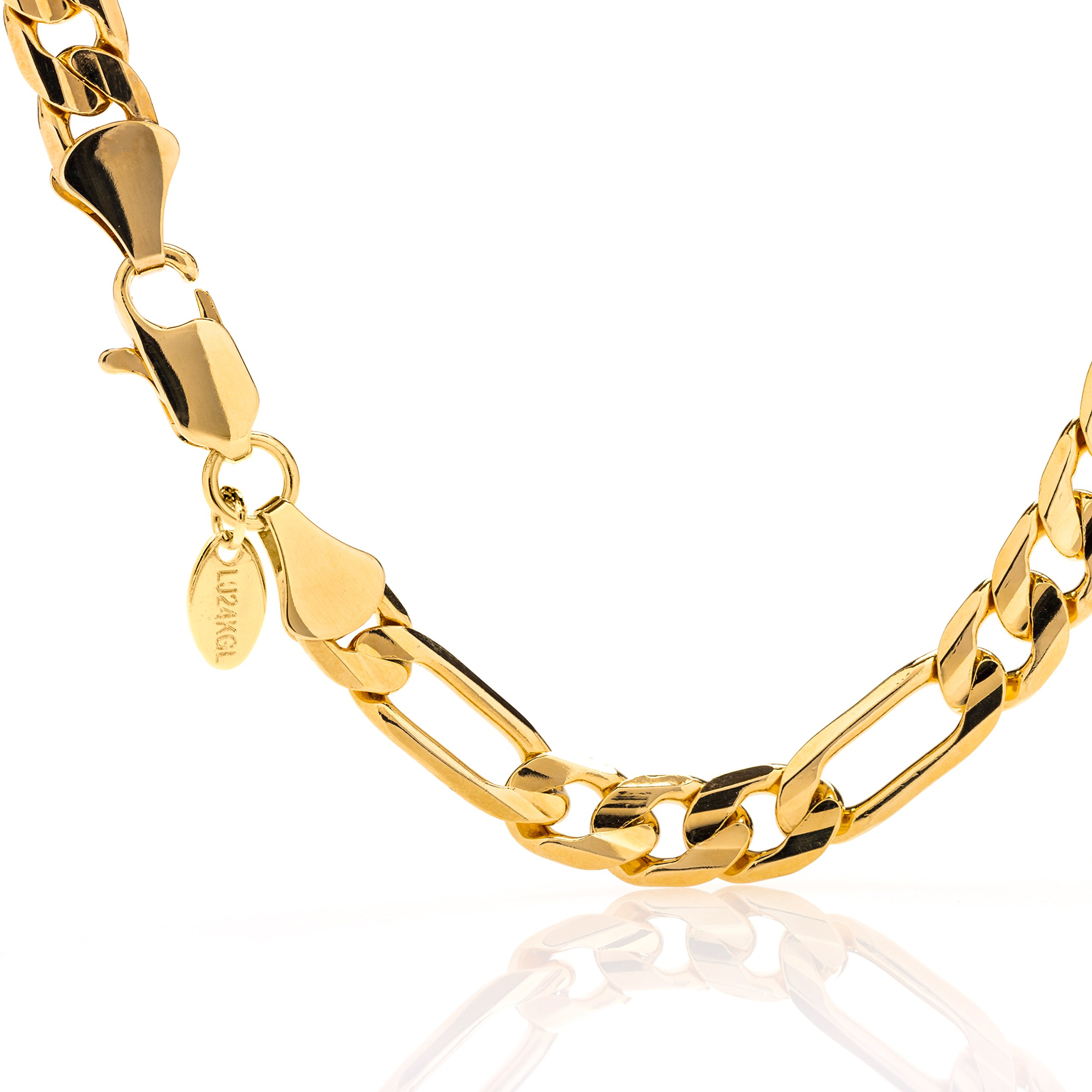 Lifetime Jewelry Gold Bracelets for Men & Women [ 9mm Figaro Chain ] up to 20X More 24k Plating Than Other Gold Chain - Free Lifetime Replacement Guaranteed - Durable Figaro Wrist Bracelet (8.00)