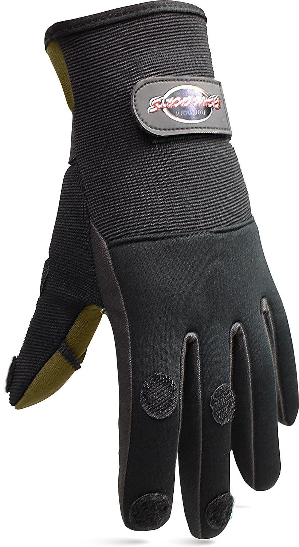 normani Anglerhandschuhe aus Neopren mit umklappbaren Fingerkuppen und Silikon-Innenseite