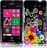 For Nokia Lumia 521 Hard Design Cover Case Chromatic Flower Accessory