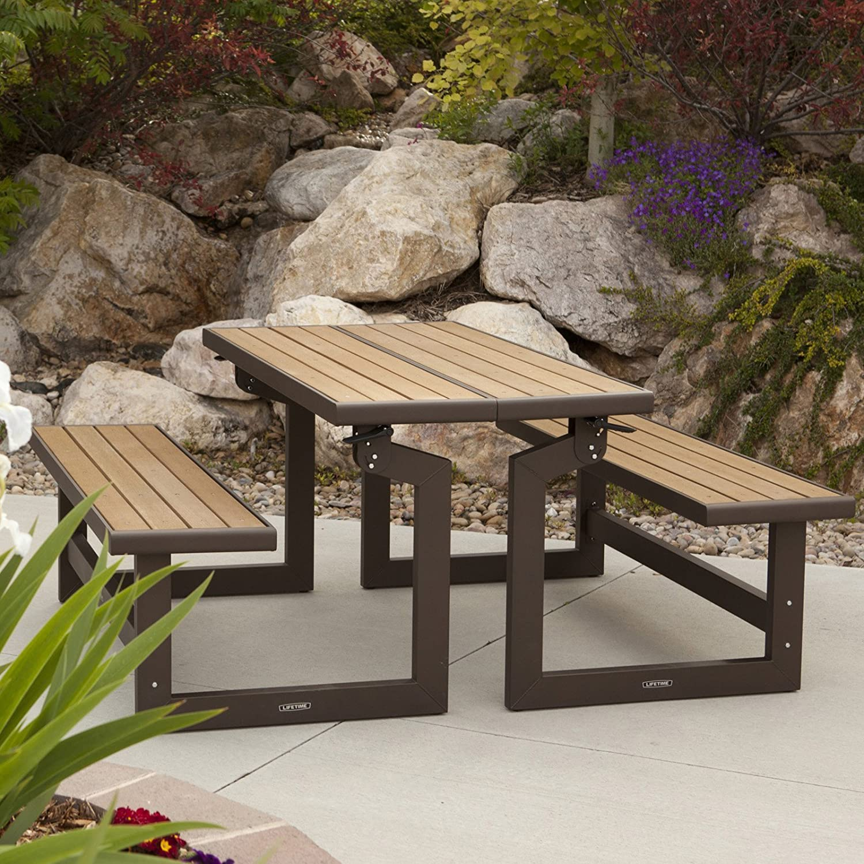 Amazon.com : Lifetime Products Wood Grain Convertible Folding Picnic Table  : Garden U0026 Outdoor