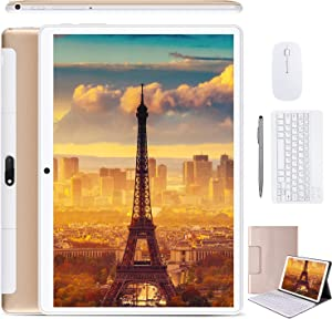 2 in 1 Tablets 10 Inch, Android 9.0 Tablet PC with Wireless Keyboard Case, 4GB RAM 64GB ROM/128GB Computer Tablets, Quad Core, HD/IPS, 8000mAh, 13MP Dual Camera, Dual 4G SIM, WiFi, GPS, Google Store