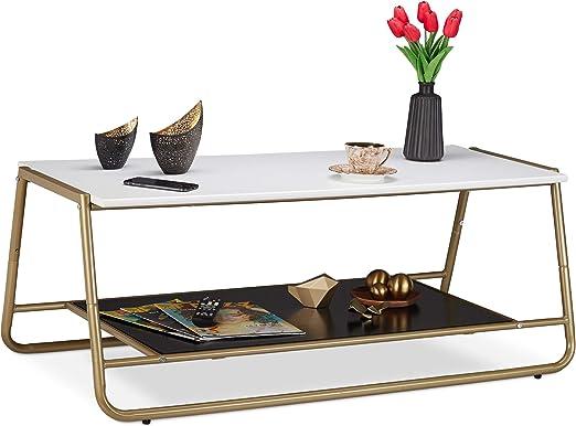 Relaxdays Mesa Centro Salón con Patas Metálicas, Decorativa y ...