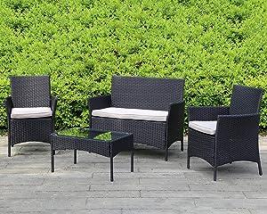 HGS Outdoor Rattan Chair 4 Pieces Garden Conversation Set Patio Furniture Sets Wicker Sofa&Table Rattan Chair for Yard Balcony Poolside Backyard, Black