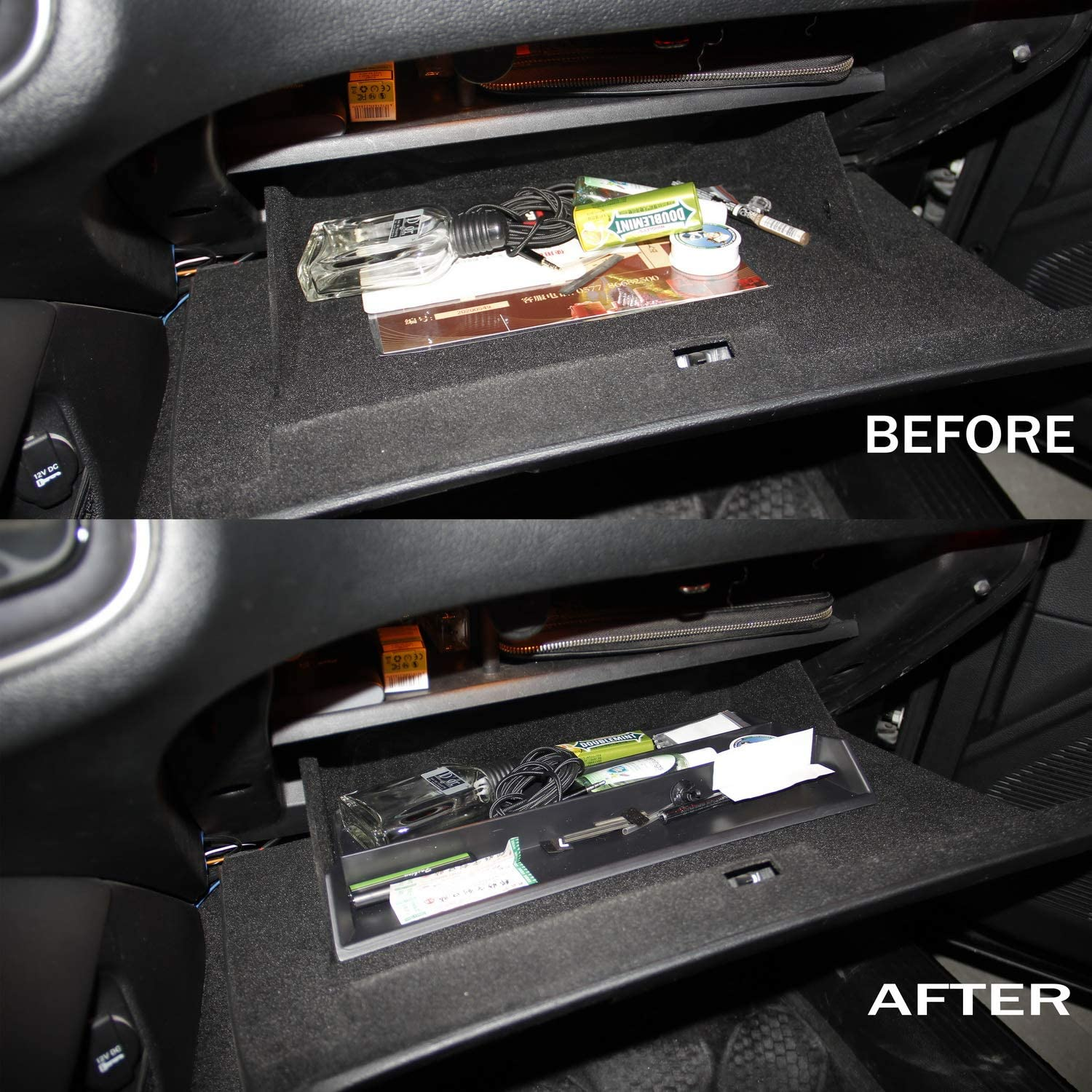 Glove box Insert ABS Organize storage tray fit for Dodge Charger 2011 Challenger 2015+