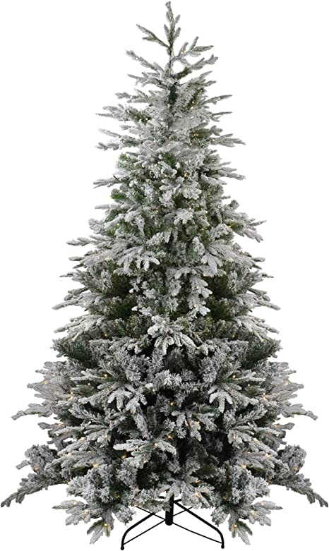 Amazon Com Northlight 9 Pre Lit Medium Flocked Winfield Fir Artificial Christmas Tree Warm White Led Lights Home Kitchen