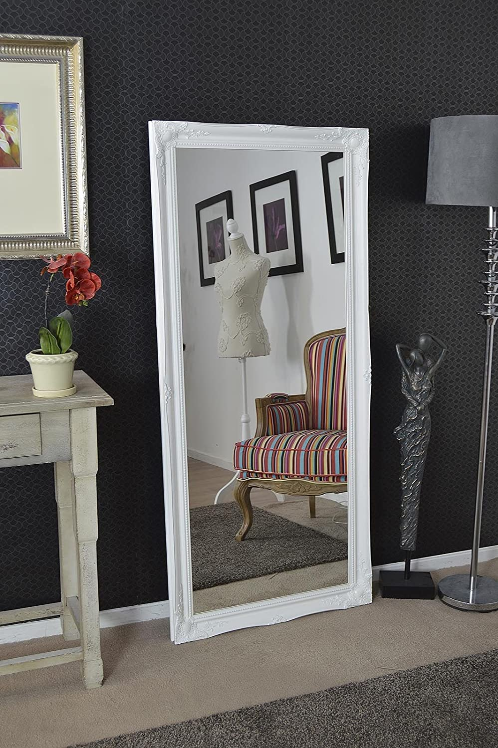 full length white dressing hall mirror complete with premium quality glass overall size 66 inches x 30 inches 168cm x 77cm
