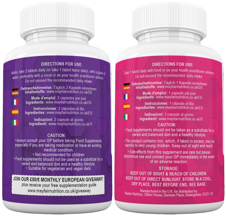 Cuidados Prenatales y Postnatales|Adecuado para Vegetarianos y Veganos|El Mejor Surtido de 16 Vitaminas y Minerales Esenciales para El Embarazo+Fenogreco ...