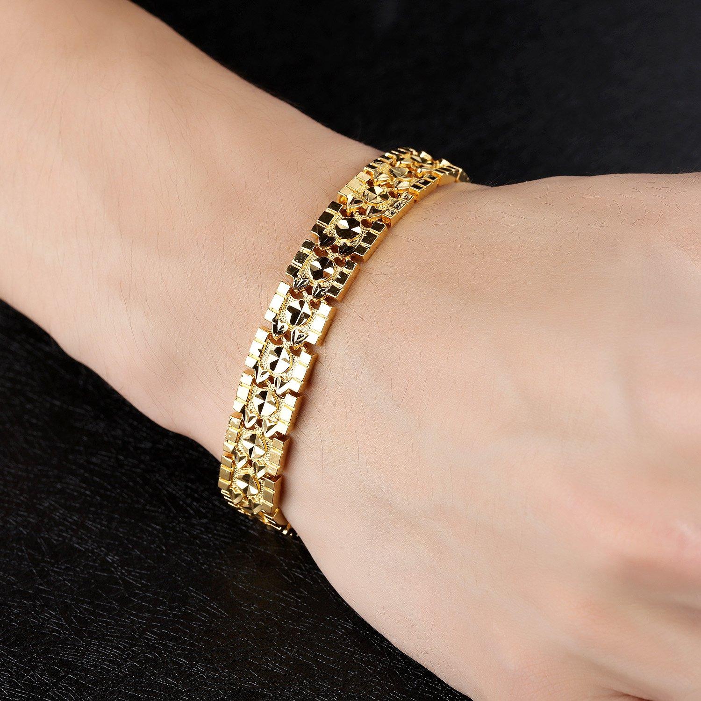 d2cd5c05b OPK Jewelry Luxury Gold Plated Men's Bracelets Chain Link Bangle Gold  Bracelet 8.27 Inch: Amazon.in: Jewellery