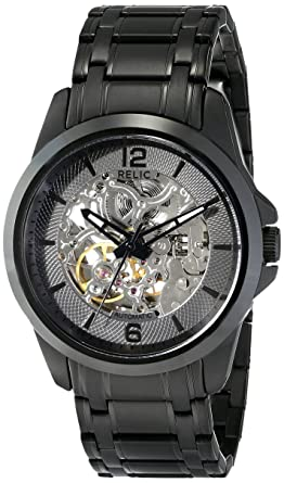 Attractive Relic Menu0027s Cameron Automatic Self Winding Stainless Steel IP Skeleton Dial  Watch, Color Black
